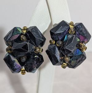 Vintage Austrian Navy Blue & Yellow Clip Earrings